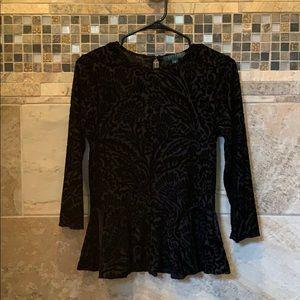 Black velvet imprint/design Lauren top  3/4 sleeve